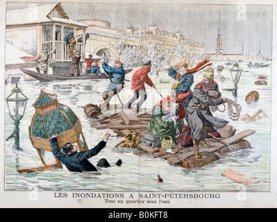 Floods in St Petersburg, Russia, 1903. Artist: Unknown - Stock Photo