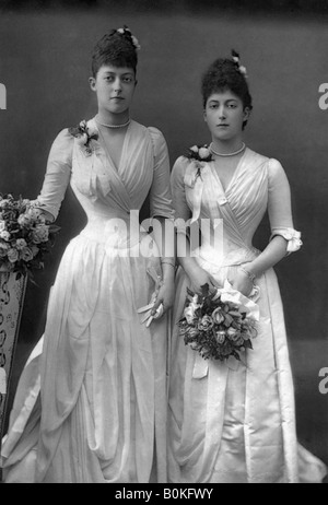 The Princesses Victoria (1868-1935) and Maud (1869-1938) of Wales, 1890.Artist: W&D Downey - Stock Photo