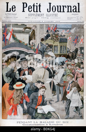 News of king Edwards VII's illness in London, 1902. Artist: Unknown - Stock Photo