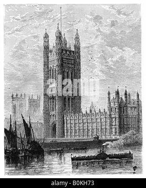 The Victoria Tower and the Houses of Parliament, London, 1900. Artist: Unknown - Stock Photo