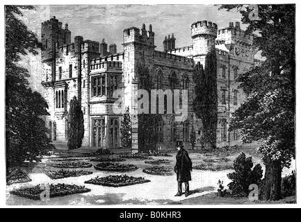 The Garden, Hawarden Castle, Flintshire, Wales, 19th century. Artist: Unknown - Stock Photo