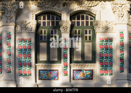 Details on the Front of Traditional Shop House, Singapore - Stock Photo