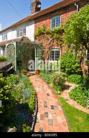 Up the garden path to a cottage in Manton Wiltshire England UK EU - Stock Photo