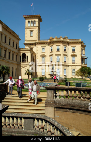 Tourists in Formal terrace gardens at Osborne House East Cowes Isle of Wight England UK Historic home of Queen Victoria - Stock Photo