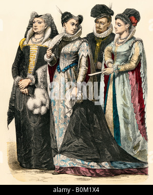 Clothing of Italian ladies from Venice Milan and Florence 1580s. Hand-colored print - Stock Photo