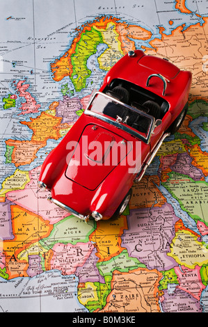 Red car on Europe map - Stock Photo