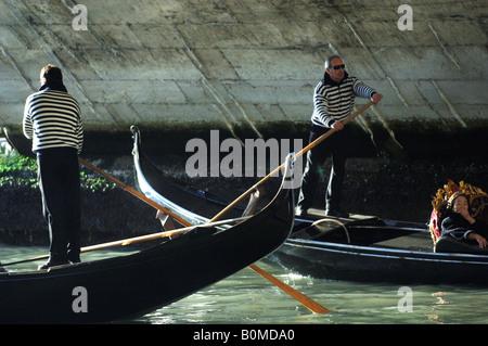 Gondolas on the Grand Canal in Venice - Stock Photo