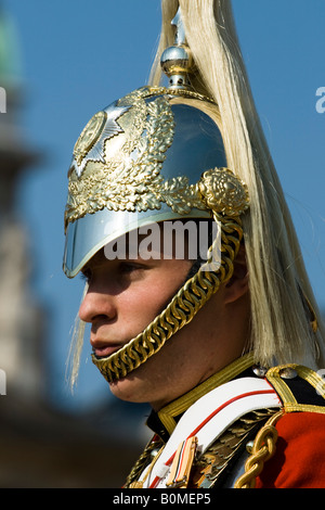 Trooper for the Queens Lifeguard, Household Cavalry Mounted Regiment.  Horseguards Parade, Westminster, London, - Stock Photo