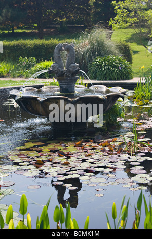 Ornamental garden pond water feature with earthenware jug for Ornamental pond fish uk
