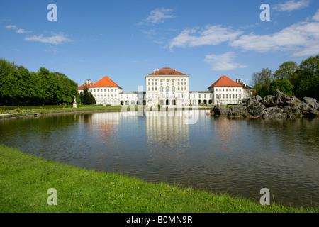Schloss Nymphenburg in Muenchen, Castle Nymphenburg Munich, Bavaria, Germany - Stock Photo