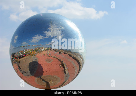 The mirror ball on the new Promenade at South Shore Blackpool - Stock Photo