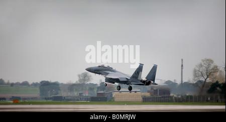 F 15 Strike Eagle E landing at RAF Lakenheath in Suffolk England - Stock Photo