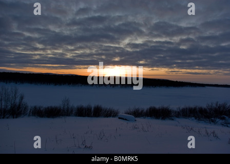 A sunset in finnish Lapland - Stock Photo