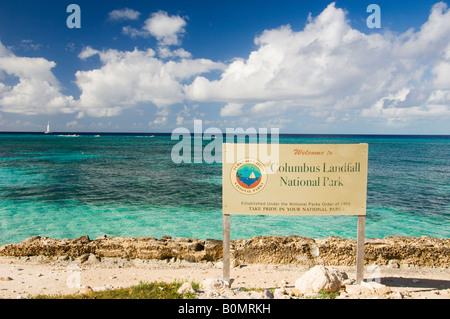 The Columbus Landfall National Park sign in Cockburn Town Grand Turk Turks and Caicos Islands British Overseas Territories - Stock Photo