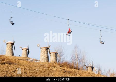 Yabuli ski resort Heilongjiang Province Northeast China - Stock Photo