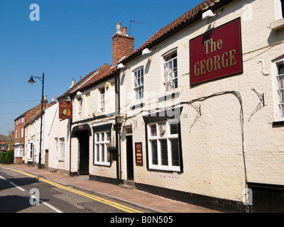The George a typical british Pub at Market Rasen, Lincolnshire UK - Stock Photo