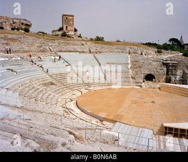 The Greek Theatre or Teatro Greco Neapolis Parco Archeologico syracuse or siracusa Sicily Italy EU.