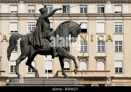 Statue of King Josip in the Main Square Ban Jelacic Zagreb City Centre Croatia - Stock Photo