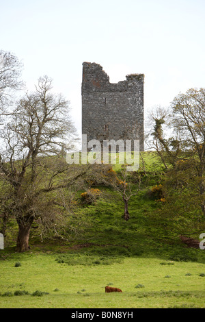 Audleys castle tower house built on a high mound overlooking strangford lough county down game of thrones site northern - Stock Photo