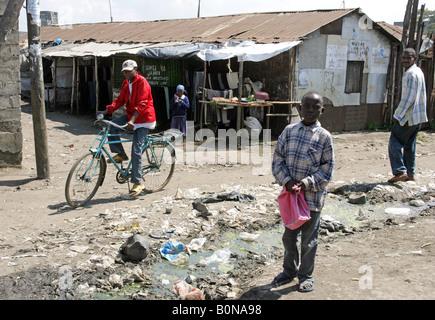 Slum Soweto, one of the most notorious slums in Nairobi, Kenya - Stock Photo