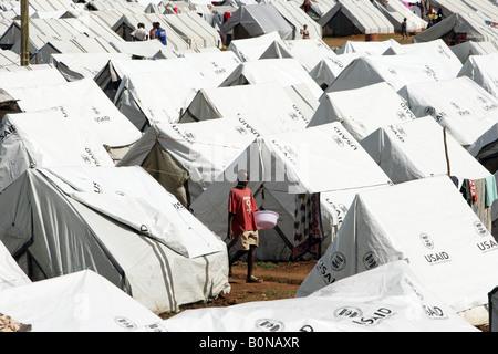 Kenyan refugee camp SHOW GROUND in Eldoret - Stock Photo