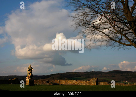 statue at the ruined castle in Arnsberg Sauerland North Rhine Westphalia Germany - Stock Photo