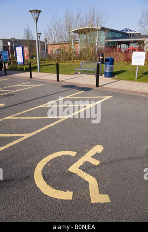 Parking space for disabled drivers, at Stafford Services M6 (Southbound) motorway service station. - Stock Photo