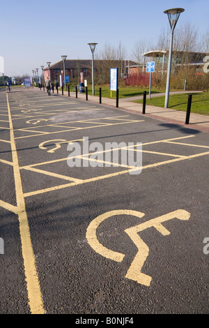 Parking spaces for disabled drivers, at Stafford Services M6 (Southbound) motorway service station. - Stock Photo