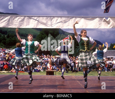 Scottish Dancing competition at Highland Games in Lochearnhead - Stock Photo
