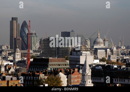 View across to the City of London from the central London - Stock Photo