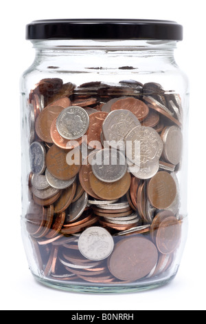 Coins in a Glass Jar with Lid On - Stock Photo