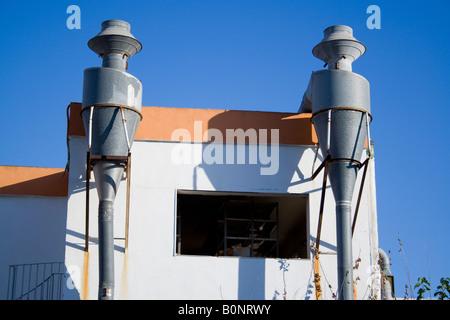 chimney ,periphery, leaved factory, el saler, - Stock Photo