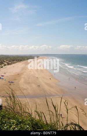 View of Saunton Sands beach from cliff top, Saunton, North Devon. - Stock Photo