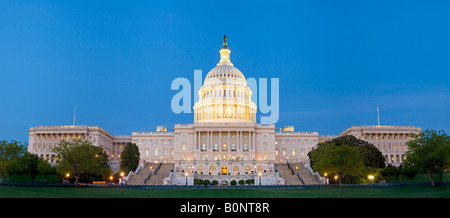 US Capitol Congress building at dusk. High resolution panorama - Stock Photo