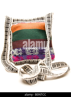 knitted hand made change purse handbag passport holder carry all produced in honduras central america - Stock Photo