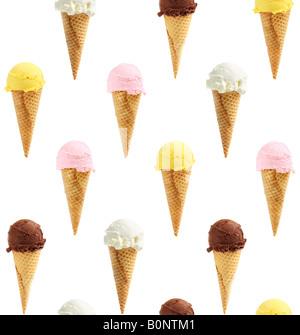 Seamless background of assorted ice cream cones