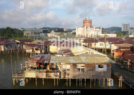 Stilt Village Of Kampung Ayer With Omar Ali Saifuddien Mosque In Background, Brunei - Stock Photo