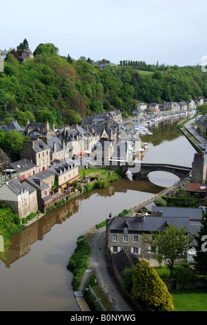The port of Dinan photographed from the viaduct over the river Rance in Brittany France - Stock Photo