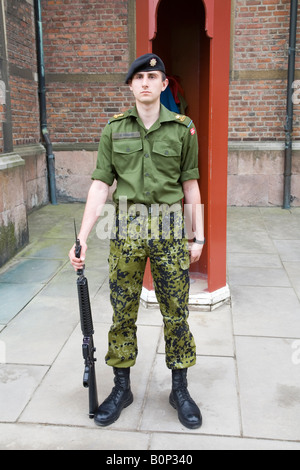 A guard stands on duty at Rosenborg Slot, Copenhagen, Denmark. - Stock Photo