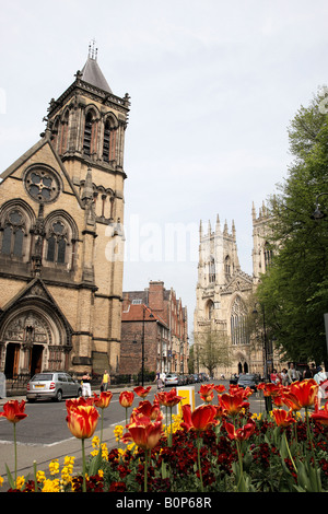 duncombe place, st wilfrids catholic church on the left and york minster in the background york north yorkshire - Stock Photo