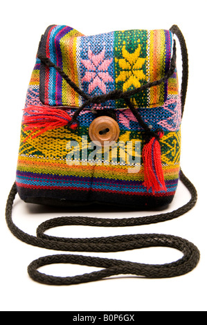 knitted hand made change purse handbag produced in honduras central america - Stock Photo