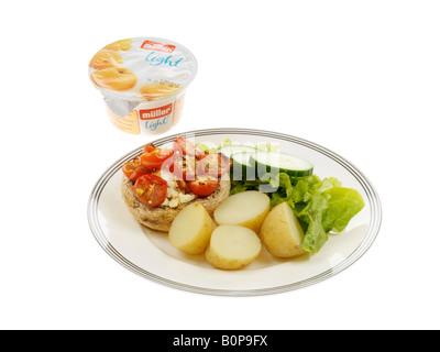 Stuffed Mushrrom with Salad and New Potatoes - Stock Photo