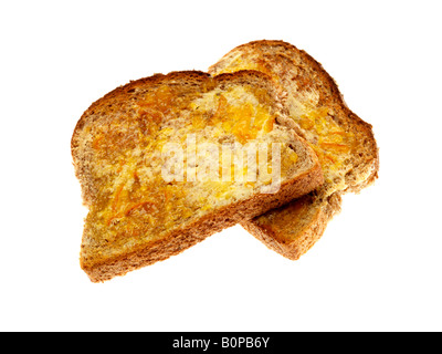 Fresh Sweet Wholemeal Toast With Marmalade Isolated Against A White Background With A Clipping Path And No People - Stock Photo
