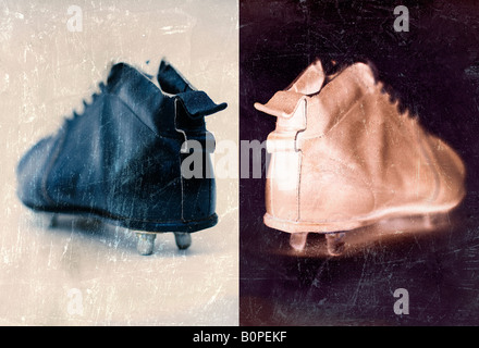 Photo illustration of vintage football boots - Stock Photo