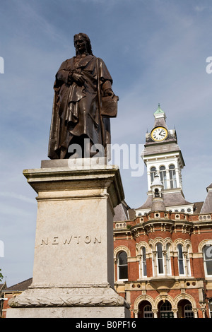 UK England Lincolnshire Grantham St Peters Hill Town Hall and Isaac Newton Statue - Stock Photo