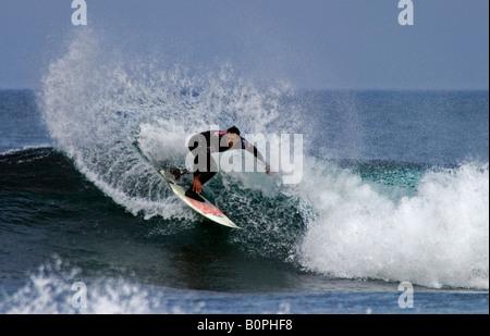 Surfer surfing at Brimms Ness 2008 O'Neill Highland Open, Thurso Caithness, Scotland, UK, Europe - Stock Photo