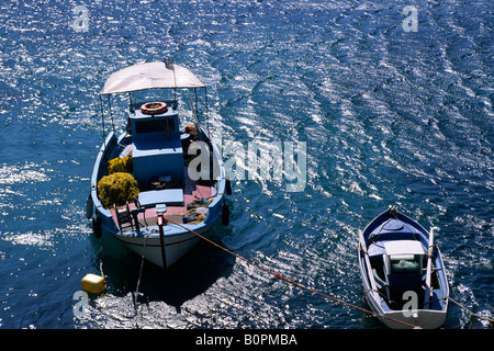 greece, northeastern aegean islands, fourni, kampi bay, fishing boats - Stock Photo