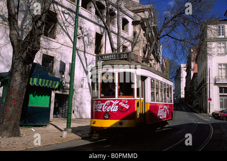 portugal, lisbon, alfama district, tram - Stock Photo