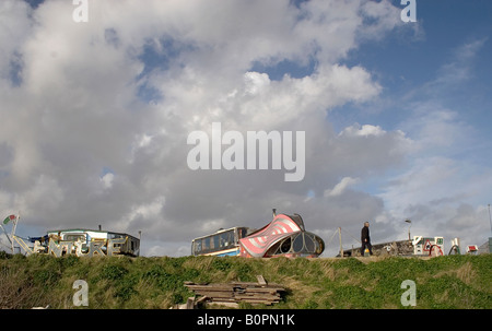 houseboats on Adur river with blue sky - Stock Photo