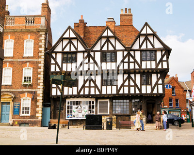 Leigh Pemberton House a Tudor half-timbered building now a Tourist Information Office in Lincoln city, England, - Stock Photo